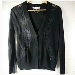 Black wool cashmere blend cardigan Juicy Couture